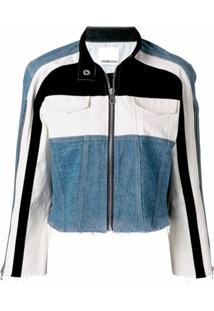 Ground Zero Jaqueta Jeans Com Recortes Contrastantes - Azul