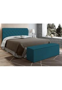 Cabeceira Com Calçadeira Baú Paris Para Colchão Box 140 Cm Azul Velur Textura - Js Móveis