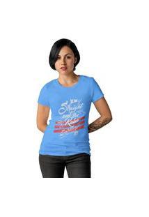 Camiseta Feminina Ezok Caution Sk8R Azul Claro