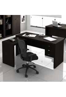 Mesa Para Escritório 3 Gavetas Office Me4106 Tabaco - Tecno Mobili