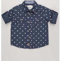 Camisa Infantil Estampada Mini Print De Barcos Com Bolsos Manga Longa Azul  Marinho 9a7a6c6073eb7