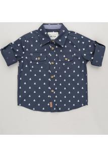 84e3eab4c1 Camisa Infantil Estampada Mini Print De Barcos Com Bolsos Manga Longa Azul  Marinho