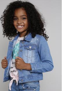 Jaqueta Jeans Infantil Com Pérolas E Strass Azul Claro
