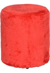 Puff Round Pelúcia Vermelho