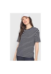 Camiseta Tommy Hilfiger Listrada Azul-Marinho/Branca