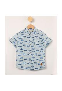 "Camisa Infantil Manga Curta Estampada ""Surf"" Azul Claro"