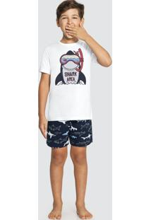 Pijama Meia Malha Penteada Branco