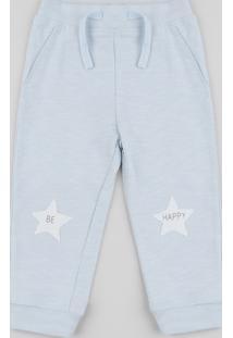 Calça Infantil Estrelas Azul Claro