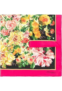Dolce & Gabbana Cachecol De Seda Com Estampa Floral - Preto