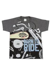 Camiseta Ano Zero Malha Vintage Silk Born To Ride Grafite
