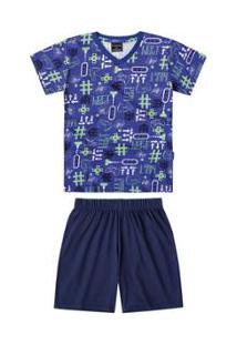 Pijama Bebê Quimby Estampado Masculino - Masculino-Marinho