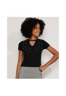 Camiseta Feminina Básica Choker Com Pérolas Manga Curta Preta