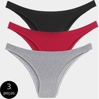 2c1b8e6e2 Kit Calcinha Tanga Trifil Básica 3 Peças - Feminino-Cinza+Vermelho