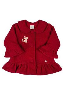 Casaco Soft Bordado Ursinha - Anjos Baby Vermelho