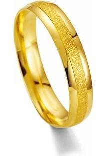 Aliança De Casamento Masculina Em Ouro 18K 4,5Mm Acabamento Liso E Fosco Wm Jóias - Masculino