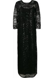 Emporio Armani Vestido De Festa Com Aplicação De Paetês - Preto