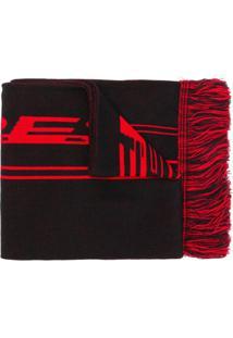 Represent Cachecol De Lã Com Logo - Preto