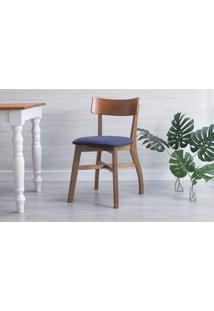Cadeira Para Sala De Jantar Estofada Bella - Amêndoa E Azul Tec. A109 - 44X51X82 Cm