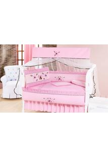 Kit Enxoval Para Berço Glamour Com 09 Peças Rosa E Branco
