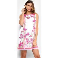 e71912035f Vestido Evasê Lança Perfume Manga Curta - Feminino-Rosa+Branco