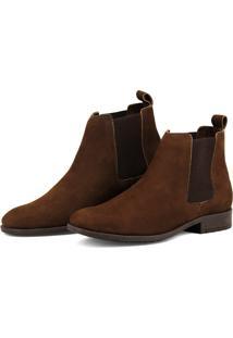Botina Chelsea Boots Escrete Lançamento Em Couro Marrom