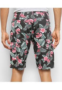 Bermuda Bnb Floral Masculina - Masculino-Preto+Rosa