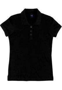 Camisa Polo Básica Slim Em Malha Piquê Feminina - Feminino-Preto
