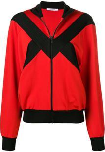 Givenchy Jaqueta Com Zíper E Recortes Contrastantes - Vermelho