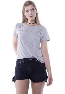 Camiseta T-Shirt Com Ilhoses E Correntes Pop Me Cinza