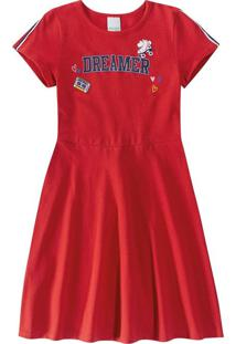 Vestido Evasê Em Piquê Infantil Malwee Kids Vermelho - 4