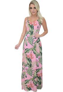 8639c5bc78f74 ir para a loja. Vestido Mamorena Longo Alcinha Amarração Costas Rosa