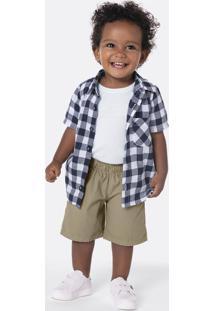 Conjunto Infantil Bebê Menino Com Camisa E Bermuda Em Sarja
