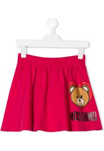 Moschino Kids Saia Com Estampa Teddy Toy - Rosa