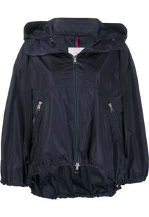 Moncler Balloon-Sleeved Hooded Jacket - Azul