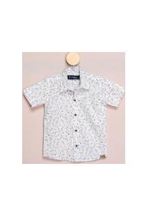 Camisa Social Teodoro Mc Infantil Algodão Estampada Casual Branco 8 Branco