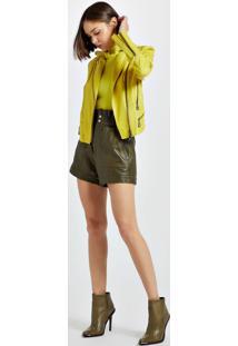 Jaqueta De Couro Motor Color Amarelo Neon - 40