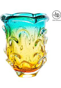 Vaso Médio Texturizado - Verde Água & Âmbar - 26Xø18Cristais São Marcos