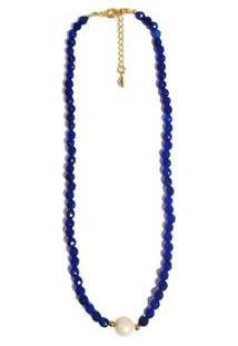 Colar Chocker Pedra Natural Semijoia Banho De Ouro 18K Agata Azul Bic E Perola - Feminino-Azul Claro