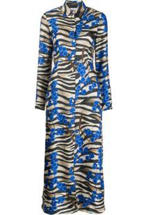 813 Vestido De Seda Com Estampa Floral - Azul