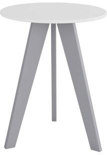 Mesa Lateral Retrô Branco/Cinza Peroba