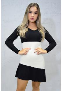 Vestido Curto Tricot Diagonal Preto Branco