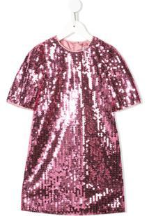 Dolce & Gabbana Kids Vestido Com Paetês - Rosa