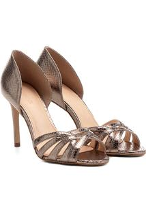 Peep Toe Couro Shoestock Salto Fino Metalizado - Feminino
