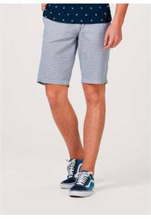 Bermuda Chino Slim Listrada Masculina - Masculino-Azul Claro