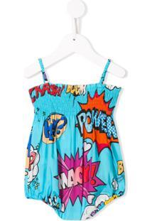 Dolce & Gabbana Kids Vestido Estampado - Azul