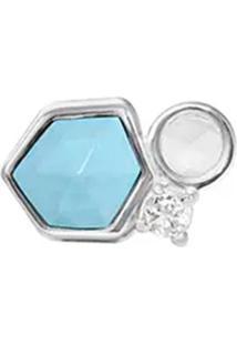 Pingente Com Pedra Ágata- Prata & Azul Claro- 1X1X1Cvivara