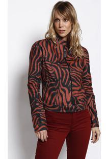 Jaqueta Em Sarja Com Recorte - Vermelho Claro & Preta