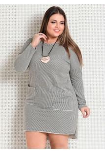Vestido Listrado Mullet Plus Size Quintess