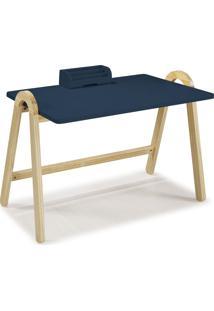 Escrivaninha Com Porta Objetos Ringo 1031 Natural/Azul Noite - Maxima