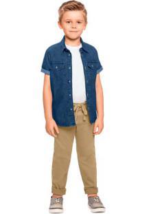 Camisa Jeans Com Elastano Possui Bolso